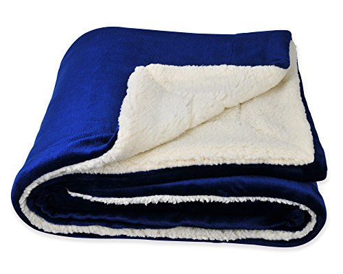 SOCHOW Sherpa Fleece Throw Blanket, Double-Sided Super Soft Luxurious Plush Blanket Twin Size, Blue