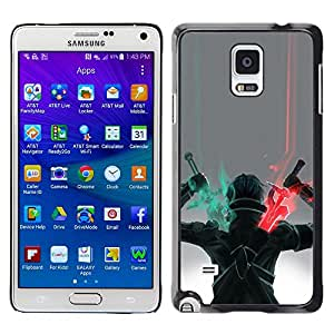 Shell-Star Arte & diseño plástico duro Fundas Cover Cubre Hard Case Cover para Samsung Galaxy Note 4 IV / SM-N910F / SM-N910K / SM-N910C / SM-N910W8 / SM-N910U / SM-N910G ( Sword Warrior Art Game Character Drawing )