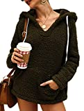 PRETTYGARDEN Women's Winter Fuzzy Drawstring V Neck Sherpa Fleece Outwear Hoodies Sweatshirt Pullover Tops with Pockets