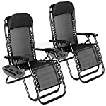 FiNeWaY 2x Folding Sun Lounger Chairs With Side Tray Table