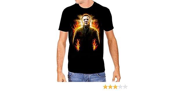 2dc1942e Amazon.com: Halloween 2 Mens Michael Myers in Flames T-Shirt: Clothing