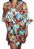 Ms Lovely Women's Satin Floral Kimono Short Bridesmaid Robe W/Pockets - Light Blue M/L