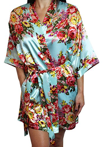 Women's Satin Floral Kimono Short Bridesmaid Robe W/Pockets - Light Blue M/L