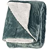 "Life Comfort Microfiber Plush Polyester 60""x70"" Large All Season Blanket for Bed or Couch Ultimate Sherpa Throw, Sage Green"