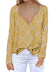Miholl Henley Shirts For Women Long Sleeve V Neck Printed Chiffon Blouse Loose Shirts Xx Large Yellow
