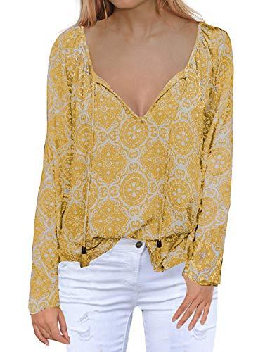 (MIHOLL Henley Shirts for Women Long Sleeve V Neck Printed Chiffon Blouse Loose Shirts (XX-Large,)