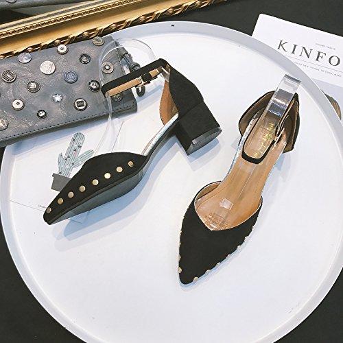 Gruesa Xue Botón Negro Qiqi Zapatos 36 Gamuza con Altos Alto Tacones Remaches Corte Femeninos la Zapatos Tacón Zapatos de de Huecos Hebilla un de de r4Svrp
