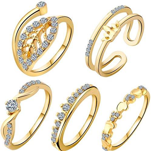Set Crown Ring - 5 pcs /set Peach heart leaves crown suit ring Set  (Gold)