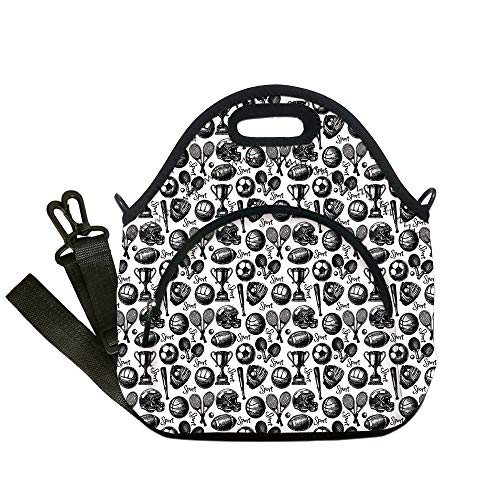 Insulated Lunch Bag,Neoprene Lunch Tote Bags,Sport,Monochrome Trophy Baseball Glove Ping Pong Ball Sketch Style Bat Tournament Inspired,Black White,for Adults and children