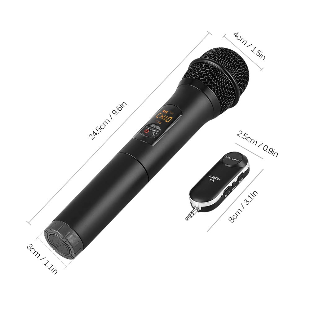 Mbuynow UHF Wireless Microphone Handheld Dynamic Cordless Mic System 10 Channels with Portable Bluetooth Receiver 3.5mm Output /& 6.35mm Output Adapter Home Church Karaoke Business Meeting