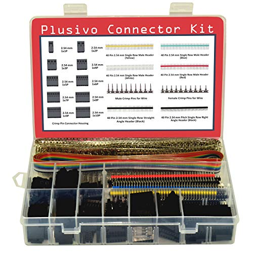 Dupont Connector Kit - 1004 pcs Crimp Connector Kit with Dupont Wire Connectors and Ribbon Cable - A Set of Male and Female 2.54 mm Dupont Connectors and Crimp Pins from Plusivo (Female Connector Kit)