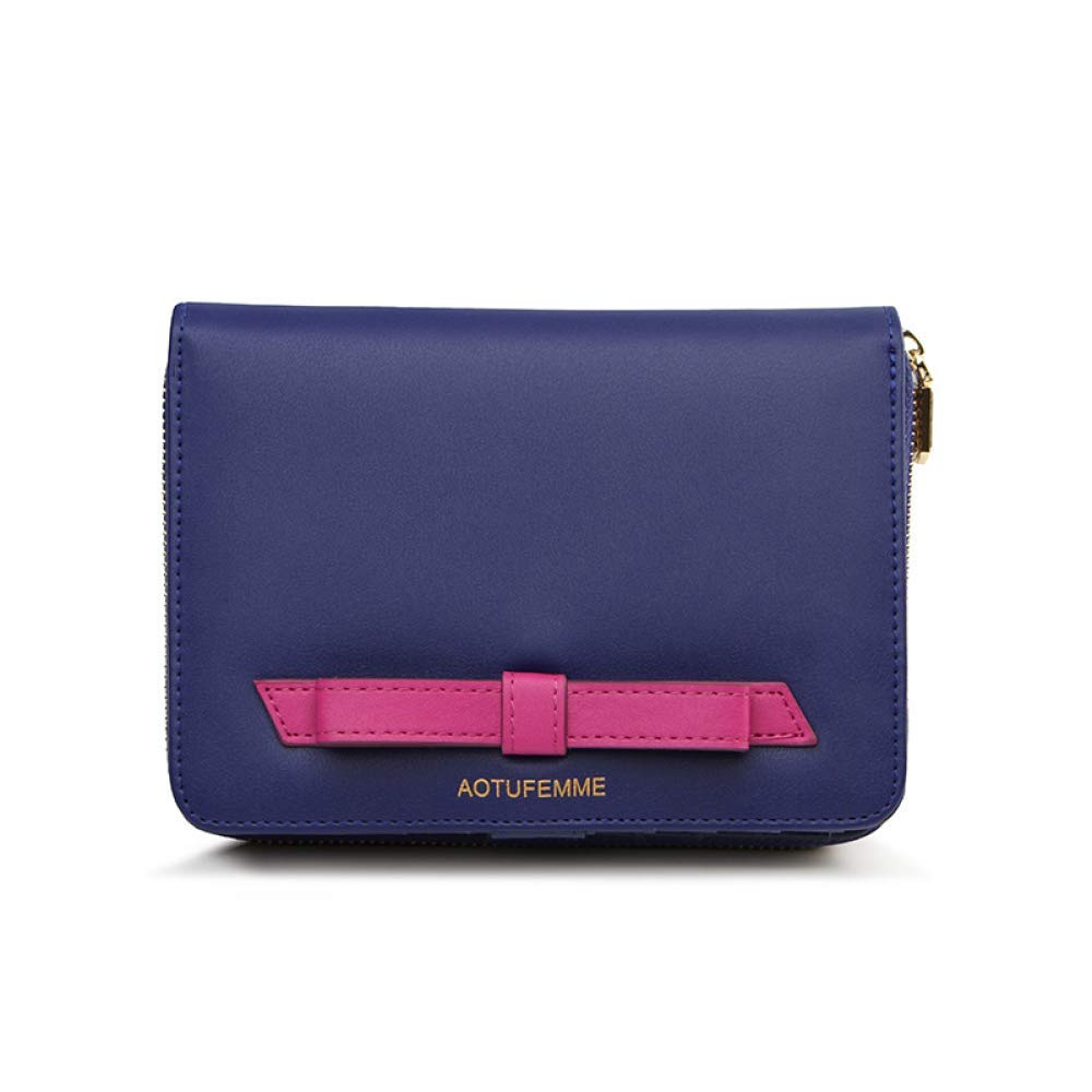 bluee Soft Women's Leather Wallet Youth Zipper Card Holder Wallet Fashion Safety Handbag (color   Red)
