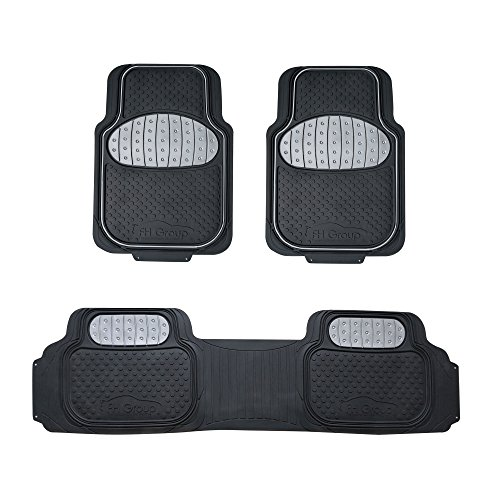 FH Group F11500 Touchdown Floor mats Full Set Rubber Floor Mats, Gray/Black Color- Fit Most Car, Truck, SUV, or Van