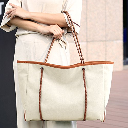 Women Holiday Spacious Beach Travel Bag Large white Shoulder Tote Creamy Bag Basic Reusable Canvas SAMSHOWS Handbag Summer 7gdqTw7
