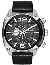 Men's DZ4341 Overflow Stainless Steel Black Leather Watch