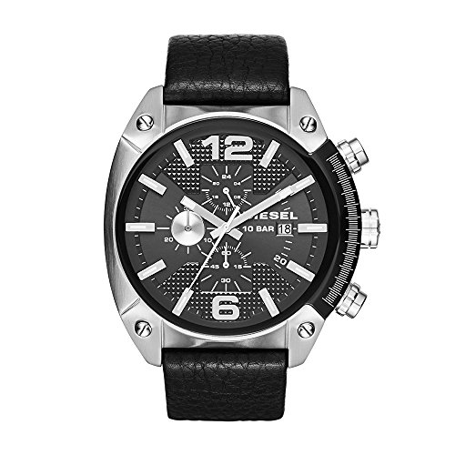 Diesel Men's DZ4341 Overflow Stainless Steel Black Leather (Diesel Silver Black Band Watch)