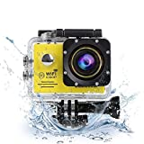 CCbetter Sports Action Camera CS720W Wifi 1080P HD 170 Degree Waterproof Digital Action Cam 2.0 inch LCD Screen 14MP DV Helmet Mount Motorcycle Camcorder with 2 Batteries free Accessories (Yellow)