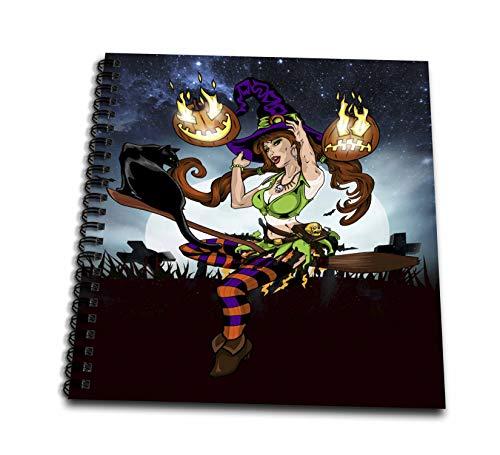 3dRose Sandy Mertens Halloween Designs - Pretty Witch with Black Cat, Broomstick, Graveyard 3drsmm - Drawing Book 8 x 8 inch (db_290234_1)
