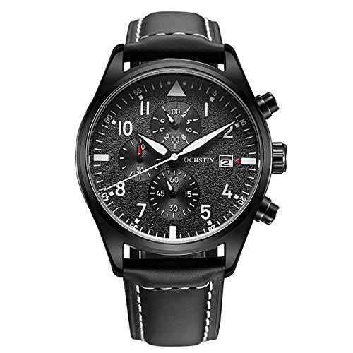 Relojes para Hombre, Kenon Cuero Genuino Reloj Impermeable Deporte Digital Deporte Cuarzo Hombres Mujeres Reloj con Muti-Funciones