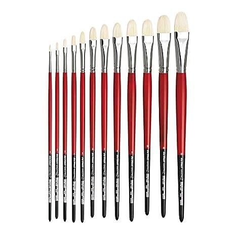 Size 8 da Vinci Hog Bristle Series 5127 Maestro 2 Artist Paint Brush Slanted Edge with Red Handle