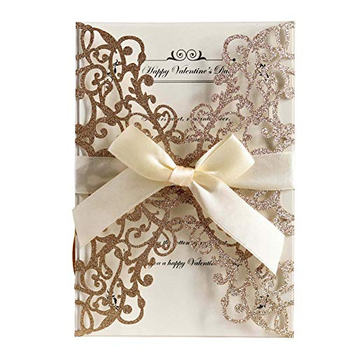 AdasBridal 50Pcs Glitter Floral Laser Cut Wedding Invitation Cards with Envelope Blank Inner Sheet and Ribbon for Wedding Engagement Bridal Shower Party Invite(7.09 X 4.92inch, Rose Gold)