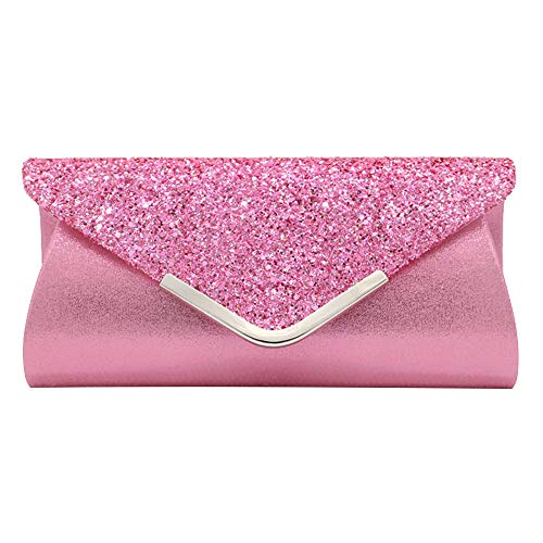 Women Glittered Envelope Clutch Purse Sequined Evening Bag Lustrous Party Handbag Shiny Shoulder - Sequined Evening Bag Purse