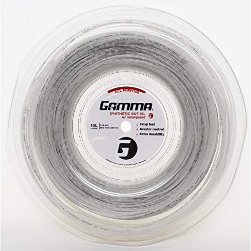 - Gamma Sports 15g Synthetic Gut with Wearguard Tennis String 660' Reel, White