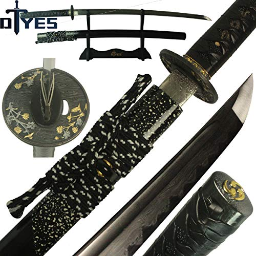 DTYES Handmade Japanese Samurai Katana Sword/Ninja Sword/Shirasaya ((Original Katana) Damascus Steel Clay Tempered Blade-Golden Flower Tsuba)