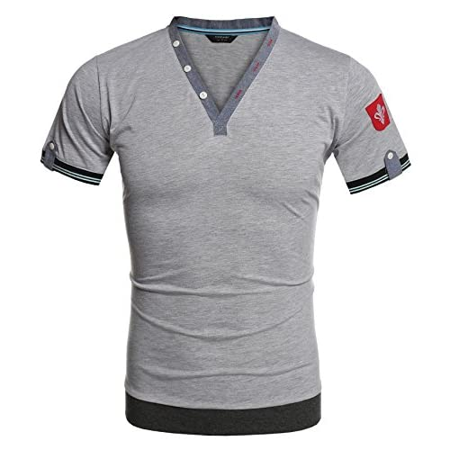 Cheap COOFANDY Mens Summer Casual V-Neck Cotton Short Sleeve Henley T-Shirts for cheap