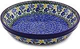 Polish Pottery Pie Dish 10-inch made by Ceramika Artystyczna (Blue Forget-Me-Nots Theme)