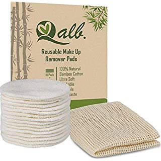 Qalb (16 or 24)-16 Reusable Makeup Remover Pads, Facial Cleansing Reusable Cotton Rounds, Environmentally Friendly Gift, Kraft Paper Packaging, Packed With A Laundry Bag And Reusable Cotton Pads