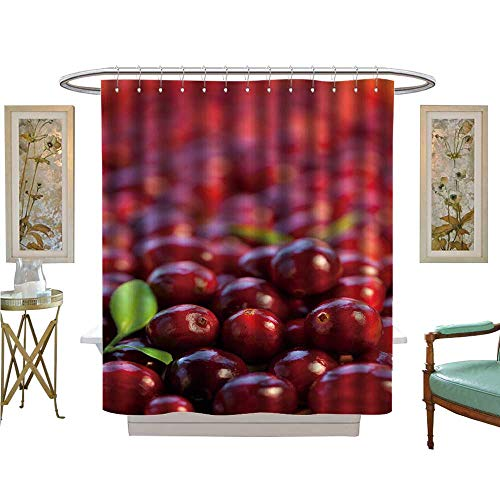 Jason Cranberry Satin - luvoluxhome Shower Curtains 3D Digital Printing red Cranberries with Leaves Satin Fabric Sets Bathroom W69 x L84