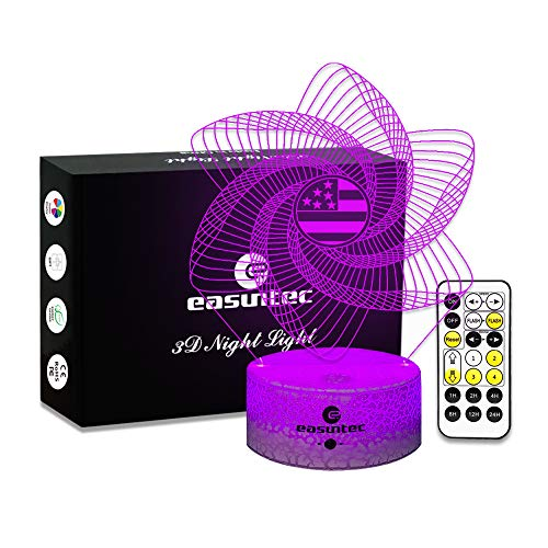 Easuntec Girls Night Lights Windmill Night Light 7 Colors Change with Timer Remote Gift idea Windmill Toys for Girls (USA Flag Windmill) by easuntec