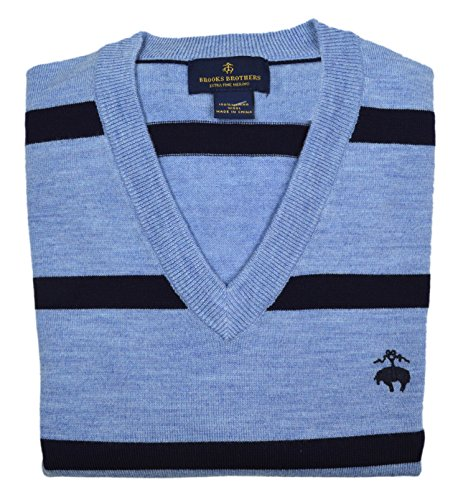 (Brooks Brothers Men's Merino Wool V-Neck Sweater Light Blue Navy Striped (XX-Large))