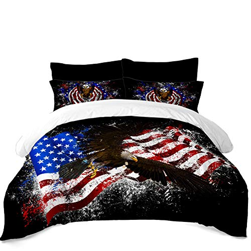 - Rhap Quilts Cover Queen Size, American Flag Printed Duvet Cover Set, Set of 3 Pieces Bald Eagle Valor Patriot Theme Digital Printed Quilt Cover Matching 2 Pillowcases