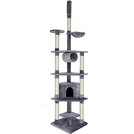 Dibea KB00423 Árbol Rascador Escalador para Gatos, 240-260 cm, Altura Ajustable del