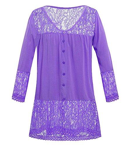 Dentelle Automne Chemisiers Col Manches Hauts Femmes Couleur Shirts Casual V et pissure Unie Blouse 3 Printemps T Violet Tees 4 Tops 5x8wqZI