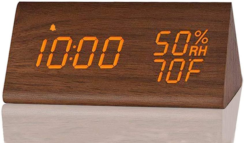 Digital Alarm Clock, with Wooden Electronic LED Time Display, 3 Alarm Settings, Humidity & Temperature Detect, Wood Made Electric Clocks for Bedroom, Bedside… (Brown)