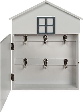 Caja para llaves de pared, con forma de casa, retro, con mensaje I love my home, blanca, para el vestíbulo: Amazon.es: Hogar