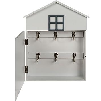 Caja para llaves de pared, con forma de casa, retro, con mensaje I love my home, blanca, para el vestíbulo