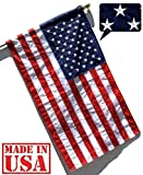 US Flag Factory - 2.5'x4' US American Flag (Pole Sleeve) (Embroidered Stars, Sewn Stripes) - Outdoor SolarMax Nylon - 100% Made in America