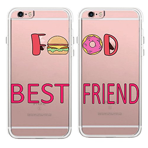 TRFAEE iPhone Couples Matching Cases Best Friends BFF Foodies Hamburger and Doughnut Food Lovers Clear Soft TPU Rubber Protective Cases Covers