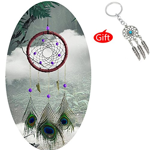 AWAYTR Forest Dreamcatcher Gift Handmade Dream Catcher Net With Feathers Wall Hanging Decoration Ornament (Peacock feather Dream catcher) (Nightmare Catcher)