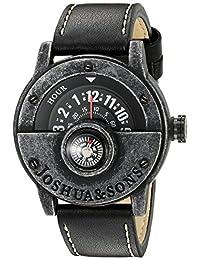 Joshua & Sons Men's JX116BK Round Black Dial Compass Quartz Strap Watch