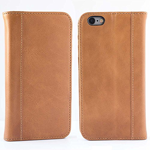 (iPhone 6, iPhone 6S Case (Does NOT Fit 6/6s PLUS) by Cherry Tree Leather | Genuine Top-Grain Leather Case with 5 ID or Credit Card Slots, Stand, and Magnetic Closure | Men and Women (Saddle Brown))