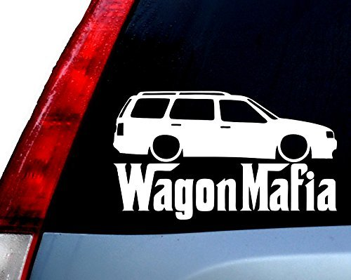 Wagon Mafia Station Wagon JDM Funny Decal Vinyl Sticker|Cars Trucks Vans Walls Laptop| WHITE |5.5 x 3.25 in|CCI727
