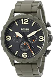 Fossil Men's JR1488 Nate Stainless Steel Watch with Olive Green Stainless Steel Bracelet
