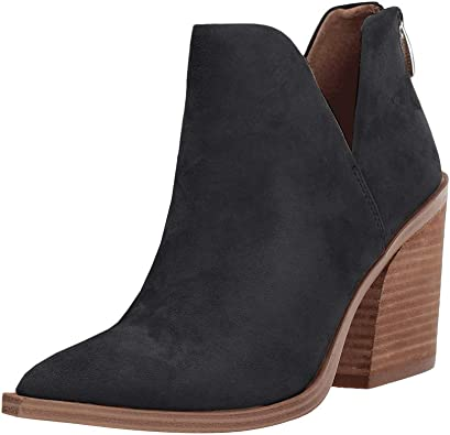 Womens Ankle Boots Causal Slip on Zipper Chunky Stacked Block Heel Booties Shoes by Nevera Black