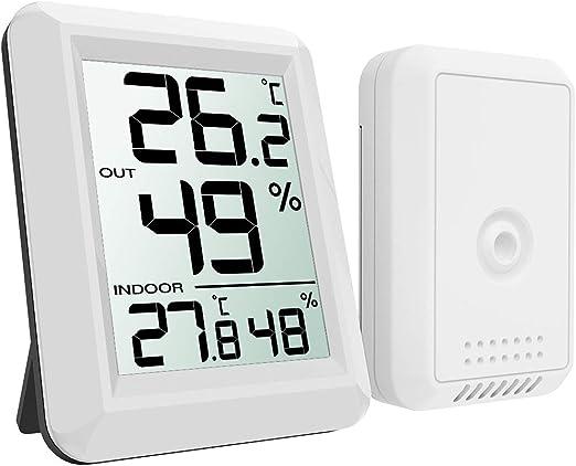 Amazon.co.jp: ORIA デジタル温湿度計 外気温度計 ワイヤレス 室内 室外 高精度 LCD大画面 置き掛け両用 華氏/摂氏表示 温室  ペット 温度管理 健康管理 インフルエンザ予防 見やすい おしゃれ ホワイト: ホーム&キッチン
