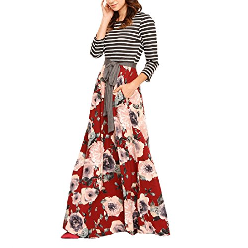 Coolred-femmes À Long Imprimé Floral Taille Empire Patchwork Rayé Manches Robe Casual Rouge